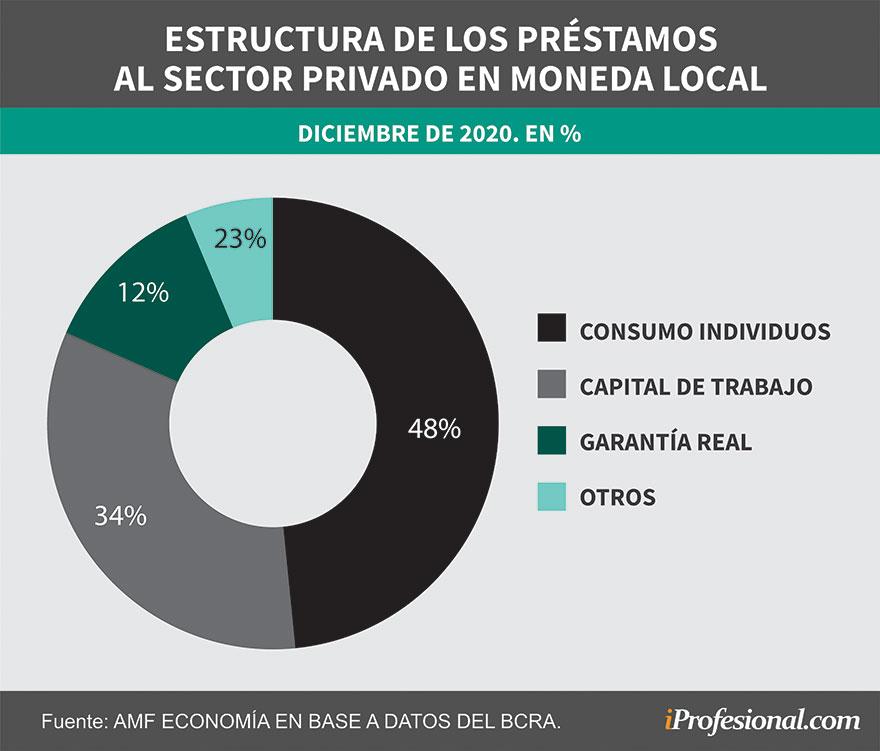 Casi la mitad de los préstamos al sector privado van a los individuos para consumo.