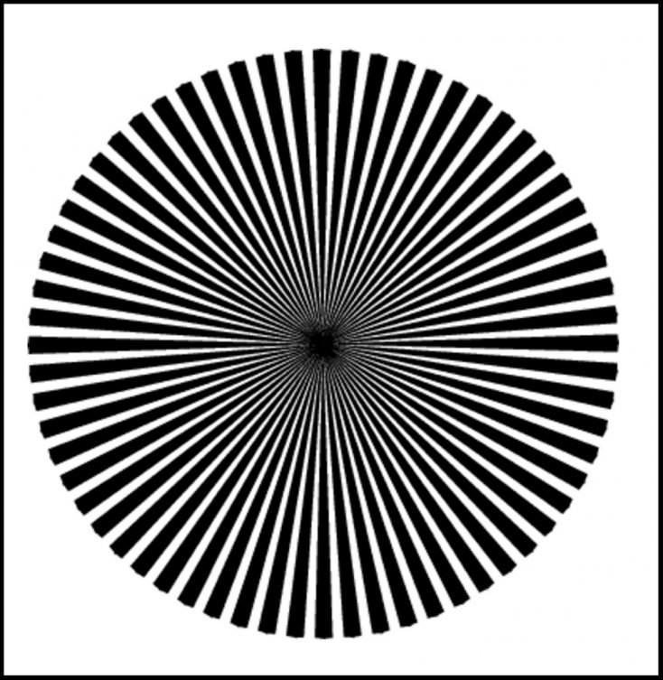 Mirá el centro del círculo y buscá ver un espectro rojo, amarillo, azul o verde