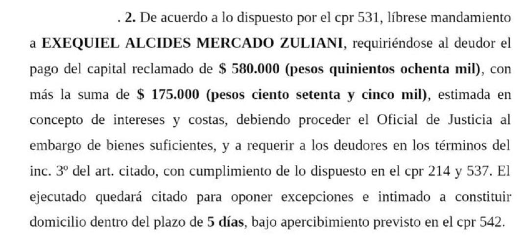 Embargo: parte de una de las demandas contra Exequiel Mercado Zuliani