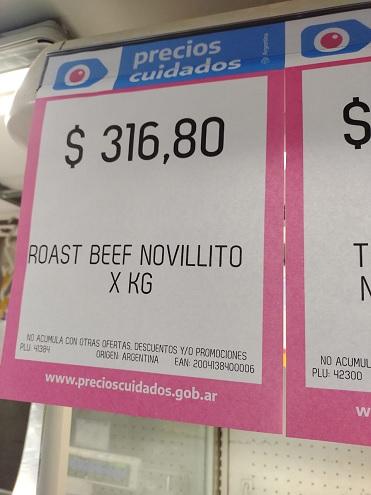 En Coto y Carrefour, por ejemplo, el roastbeef y la tapa de asado cuestan $316,80, un 25% y un 35% menos