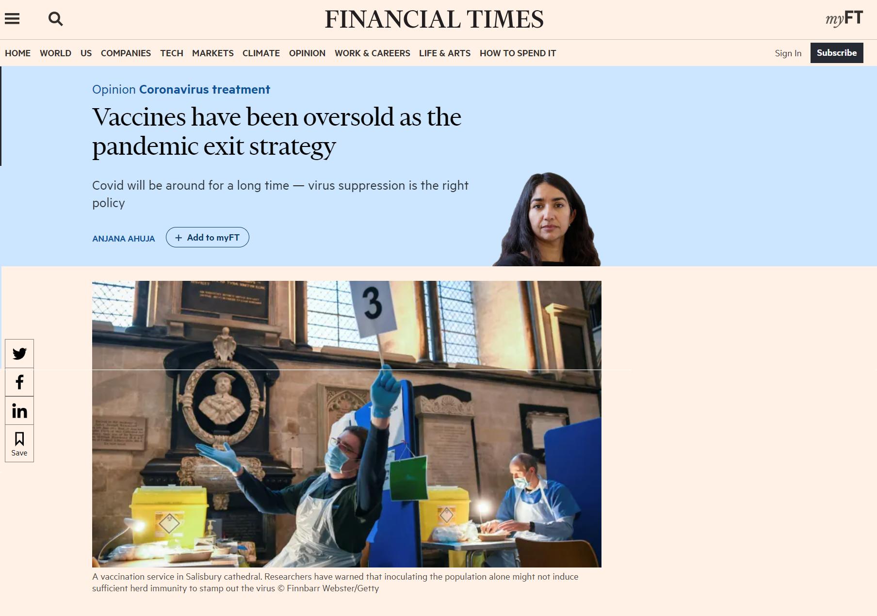 Este es el artículo que se publicó en el Financial Times
