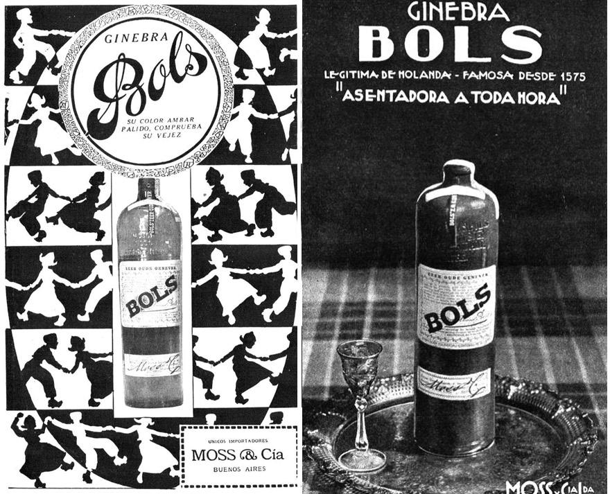 Dos publicidades gráficas de Bols en Argentina: 1919 (izquierda) y 1932.