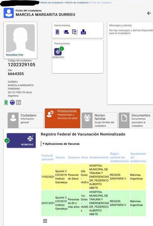 La vacunación de Marcela Durrieu, suegra de Sergio Massa.