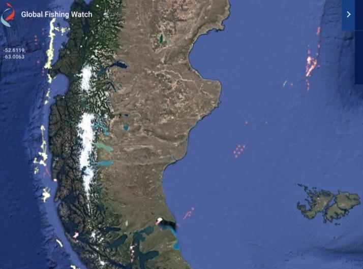 Movimiento y concentración de la flota china en estos días -imagen aportada por Milko Schvartzman-.