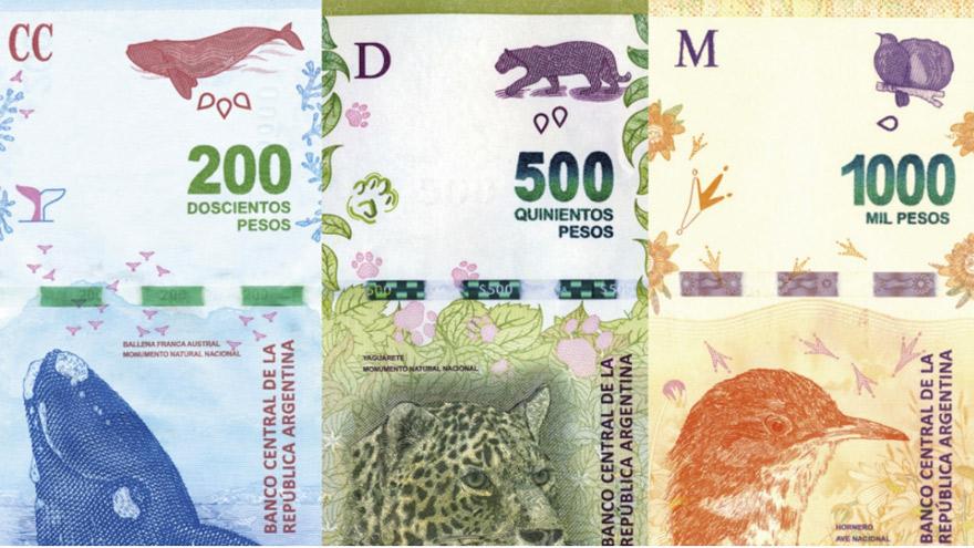 Los billetes argentinos actuales, con animales autóctonos.
