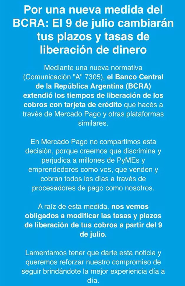 The text that Mercado Pago sent to its users.