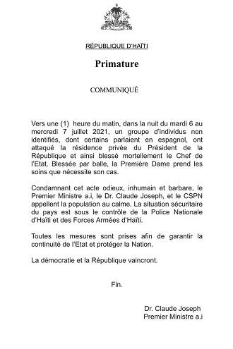 El comunicado del primer ministro haitiano