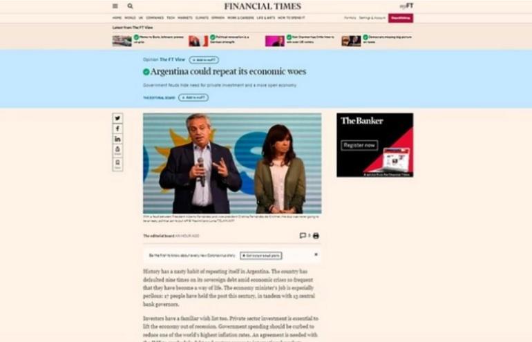 Dura advertencia del Financial Times sobre la Argentina