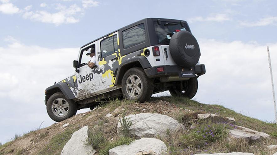 Jeep Renegade está presente en el Off Road Park con otros modelos, como se ve en la imagen.