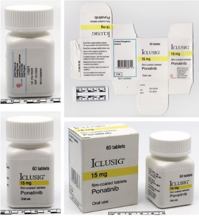 ICLUSIG 15 mg (60 comprimidos). Número de lote: 25A19E09