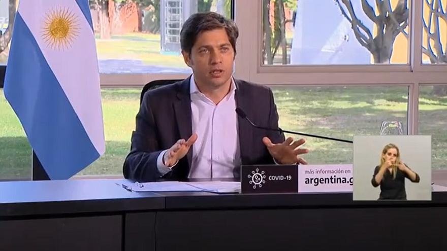 Axel Kicillof fue el último de los tres primeros mandatarios en hablar en el anuncio