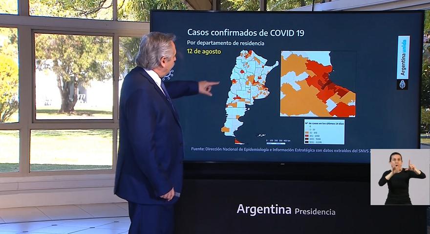El Presidente mostró la expansión del coronavirus en el país
