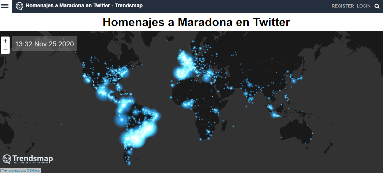 Twitter confeccionó un mapa de calor en el que mostró las conversaciones sobre Maradona en esa red