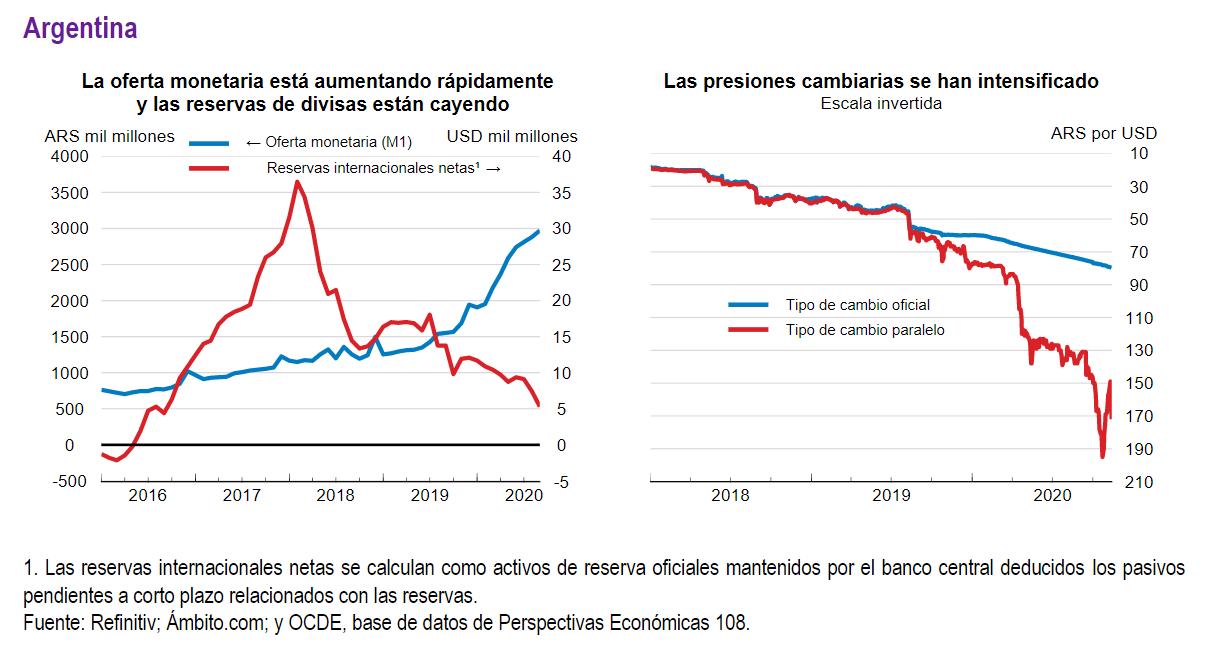 Variables de la economía argentina. Fuente: OCDE.