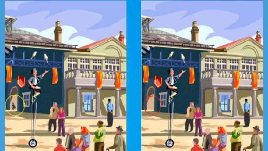 La respuesta al quinto ejercicio era que el hombre yéndose a lo lejos ya no está en la imagen de la derecha