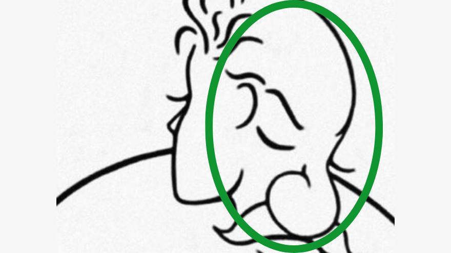 El hombre está de frente, con los ojos cerrados y tiene un bigote