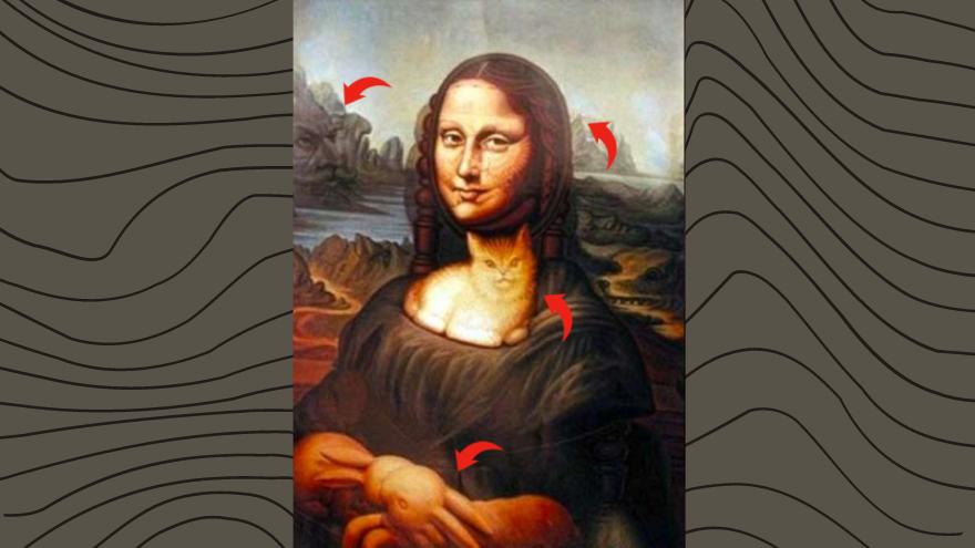 Las figuras que pudiste haber percibido eran la Mona Lisa misma, un gato, un perro o una cara